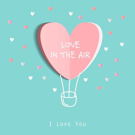 Ilustración de Symbol of love on sweet blue background, greeting card, Flat design Happy Valentines. can be add text. vector  illustration - Imagen libre de derechos