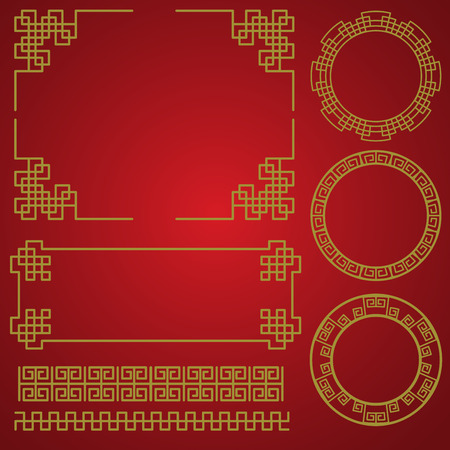 Illustration pour isolated chinese traditional border and frame template. gold and red classic chinese pattern. vector illustration - image libre de droit