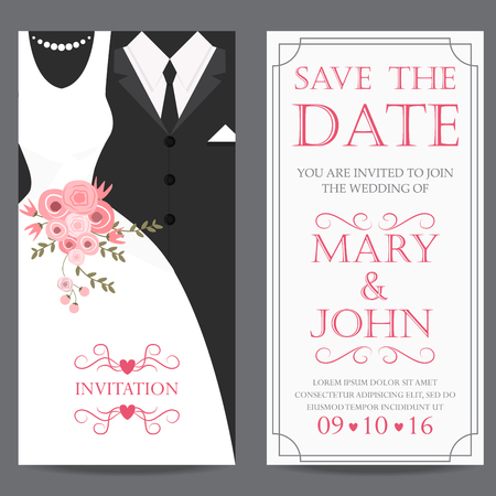 Illustration for wedding invitation card, bride and groom dress concept. love and valentine day. vector illustration - Royalty Free Image