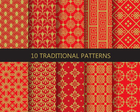 Illustration pour 10 different traditional chinese patterns. Endless texture can be used for wallpaper, pattern fills, web page background,surface textures. - image libre de droit