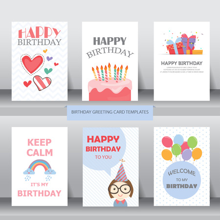 birthday, holiday, christmas greeting and invitation card.  there are balloons, gift boxes, confetti, cup cake. vector illustration