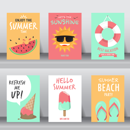Illustration pour summer, holiday, vacation poster set. can be use for greeting and invitation card.  background , backdrop. flat design. vector illustration - image libre de droit