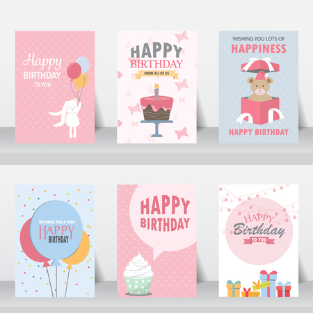 Illustration for birthday, holiday, christmas greeting and invitation card.  there are balloons, gift boxes, confetti, cup cake. vector illustration - Royalty Free Image