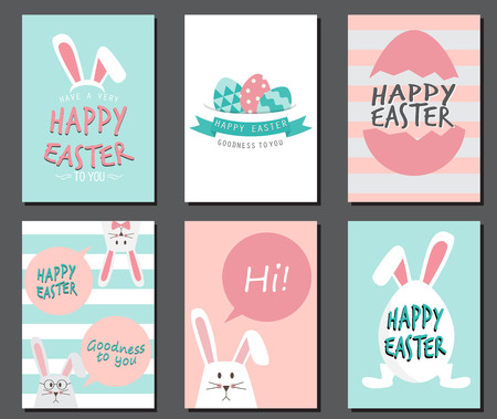 Ilustración de Happy easter day. cute bunny Ears with eggs and text  logo on sweet blue background, can be use for greeting card, text can be added. layout template in A4 size. vector illustration - Imagen libre de derechos