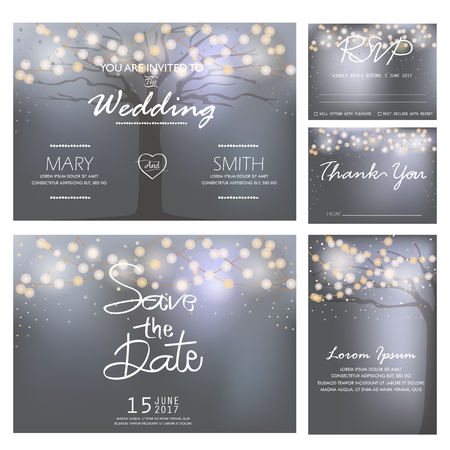 Illustration for wedding invitation, RSVP, and Thank you card  templates,light and tree concept. - Royalty Free Image