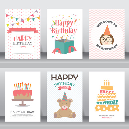 Illustration for happy birthday, holiday, christmas greeting and invitation card. - Royalty Free Image