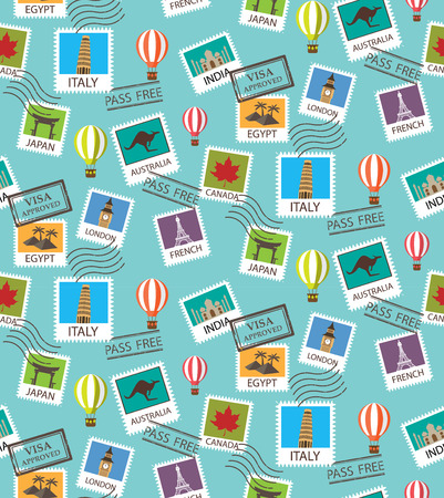 Ilustración de world Travel and famous tourism locations  seamless pattern - Imagen libre de derechos