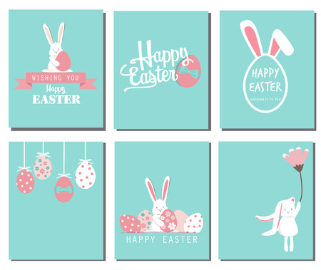 Ilustración de Happy easter day. cute bunny Ears with eggs and text  logo on sweet blue background, can be use for greeting card, text can be added. - Imagen libre de derechos