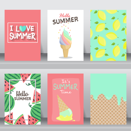 Illustration pour summer, holiday, vacation poster set. flat design. can be use for greeting and invitation card.  background , backdrop.  layout template in A4 size. illustration - image libre de droit