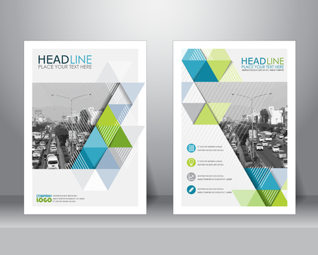 Ilustración de formal business brochure design layout template in A4 size. can be use for poster, banner, graphic element, leaflet and background - Imagen libre de derechos