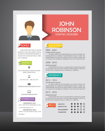 Ilustración de Job resume or CV template layout template in A4 size. - Imagen libre de derechos