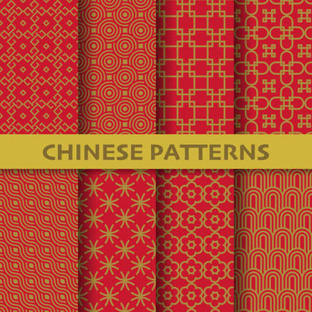 Illustration pour different chinese, Japanese and asian culture vector seamless patterns. Endless texture can be used for wallpaper, pattern fills, web page background, surface textures. vector graphic illustration - image libre de droit