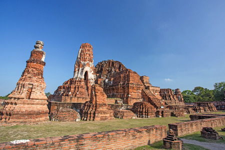 Asian religious architecture. Ancient Buddhist pagoda ruins Thailand travel landscape and d