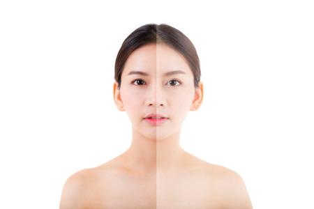 Foto de beautiful asian young woman on a white background, beauty concept. retouch before and after. - Imagen libre de derechos