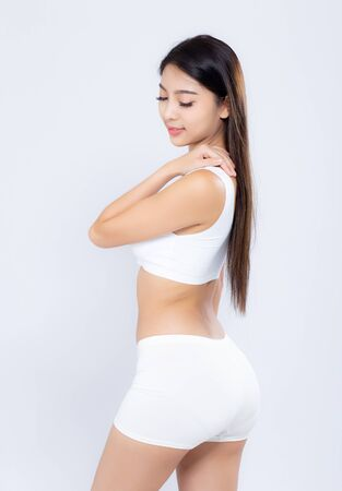 Photo pour Portrait young asian woman smiling beautiful body diet with fit isolated on white background, model girl weight slim with cellulite or calories, health and wellness concept. - image libre de droit