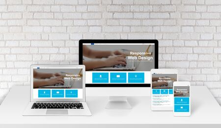 Photo for Responsive agency web page design interface presentation on display device with laptop computer on workplace, tablet and smart phone mockup template, simple development website on studio desk. - Royalty Free Image