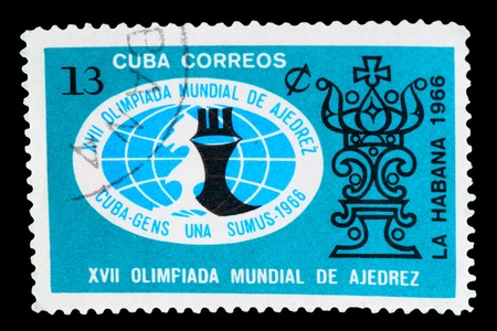 CUBA - CIRCA 1966: A Stamp printed in Cuba shows a Olympiad logo with the inscription &quot,XVII World Chess Olympiad from the series 'FIDE, HABANA 1966', circa 1966
