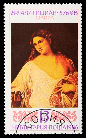 BULGARIA - CIRCA 1986: A stamp printed in Bulgaria shows the painting Flora by Titian, circa 1986