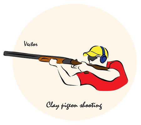 Vector illustration. Illustration shows a Summer sports competition Sports. Clay pigeon shootingÂŒ