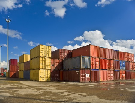 bulk of containers in a dockyard