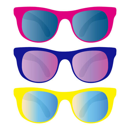 collection of sunglasses isolated on white