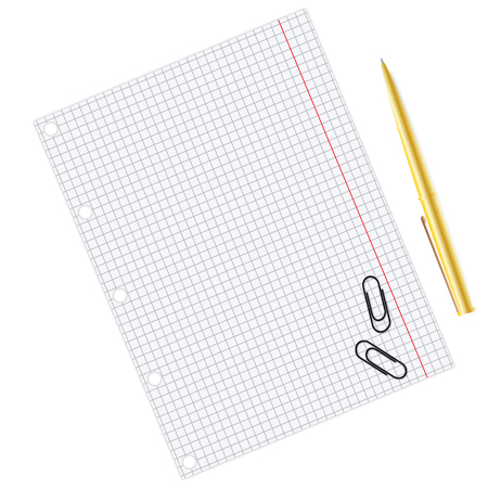 Paper sheet with pen and paper clips