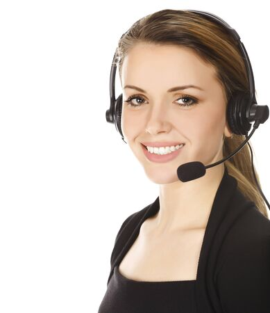 Business woman with headset - isolated over a white background.