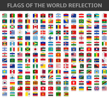 flags of the world reflection