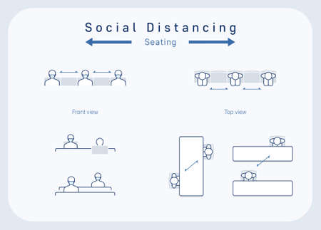 Illustration pour Social distancing concept, seating arrangements. Top view and front view of physical distancing seat layouts. People wearing face masks and keeping a safe distance. editable vector illustration - image libre de droit
