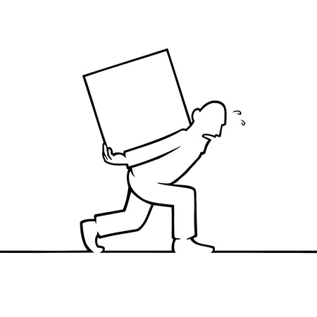 Black line art illustration of a man carrying a heavy box