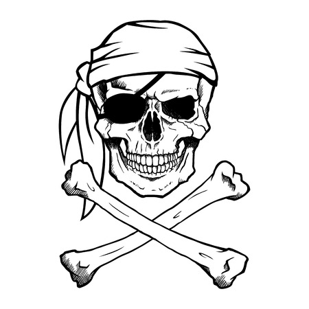 Jolly Roger pirate skull and crossbones
