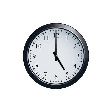 Wall clock set at 5 o'clock