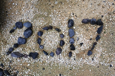 Happy new year 2017 concept in stone
