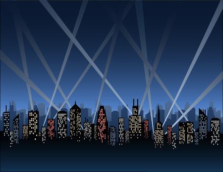 Illustration pour Searchlights Over a City Skyline - image libre de droit