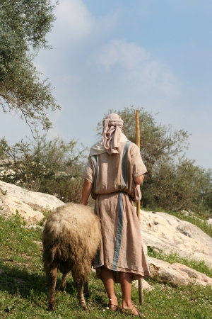 A shepherd in traditional dress leads a ram through the hills of Galilee, Israel