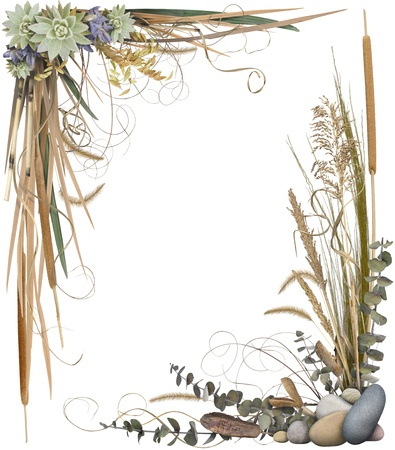 A floral arrangement forming a border frame isolated on white. Very high-res. Corners are separate and can be used individually.