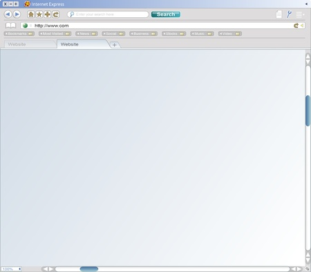 A fake web browser window from a fictional company, complete with icons, search bar, url bar, folders, scroll bars, and tabbed browsing