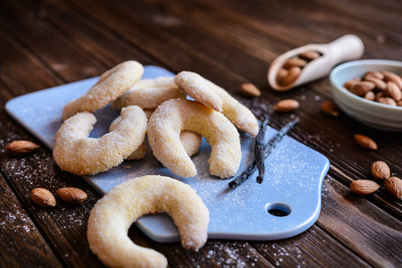 Photo for Delicious crescent shaped vanilla rolls with almond - Royalty Free Image