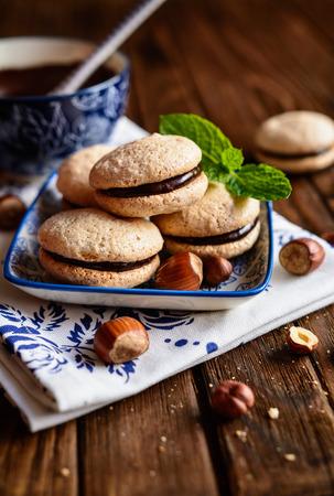 Foto für Hazelnut shortbread sandwiches filled with chocolate cream - Lizenzfreies Bild