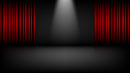 Illustration pour Empty theater or cinema stage with red curtains, vector illustration - image libre de droit