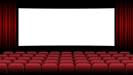 Illustration for Cinema movie theater with blank screen and red seat, vector illustration - Royalty Free Image