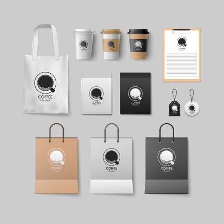 Illustration pour Coffee shop mockup set, coffee package design for corporate, vector illustration - image libre de droit