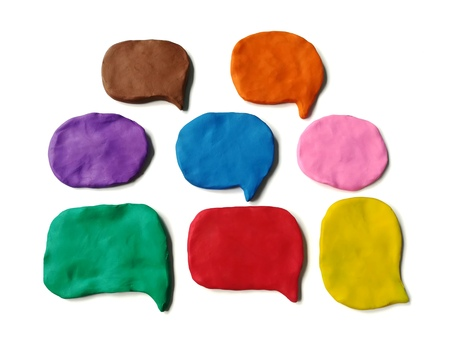 Photo pour Colorful abstract shape made from plasticine clay on white background, Speech bubble dough - image libre de droit
