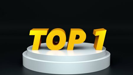 Phrase TOP 1 on a round pedestal. Computer graphics. 3d rendering of the background. Concept of victory, achievement, glory