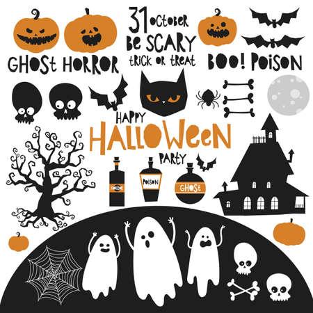 Illustration pour set of halloween elements classic colors black orange, party card invitation, banner background, hand drawing vector - image libre de droit
