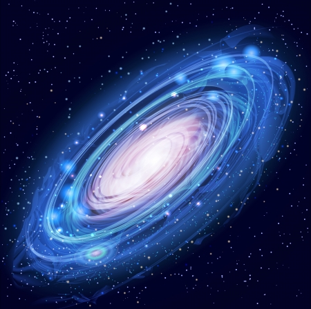 Illustration pour Blue Beautiful Glowing Andromeda Galaxy with Stars - image libre de droit