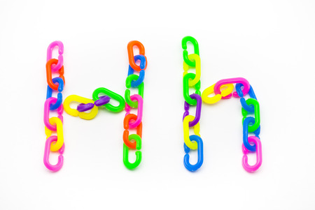 H and h Alphabet, Created by Colorful Plastic Chain.