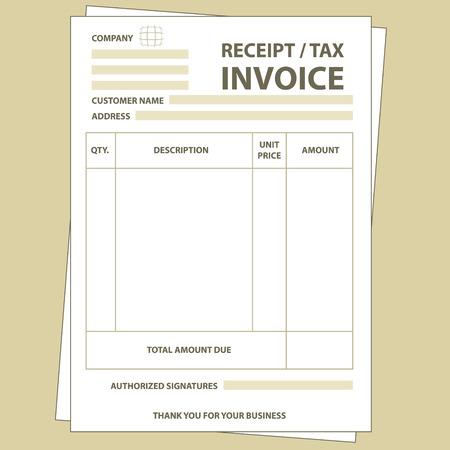 Illustration pour Illustration of unfill paper tax invoice form - image libre de droit