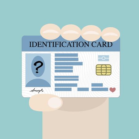 Illustration pour Illustration of hand holding the id card - image libre de droit