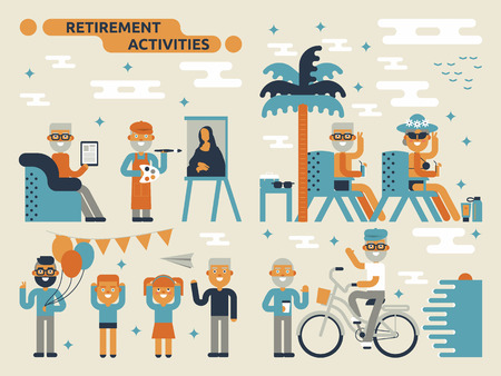 Illustration of retirement activities concept with many elderly characters